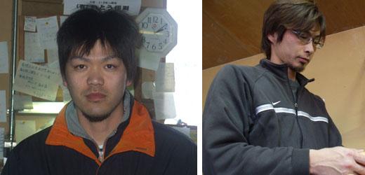 (左)鶏の管理を担当する次男の農場長・大熊啓司さん。 親子・兄弟